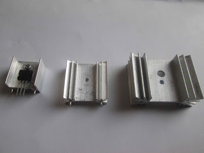 Some aluminum heat sinks of different thermal resistances