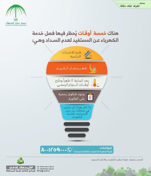 """خمسة أوقات"""" يحظر فيها فصل خدمة #الكهرباء عن المستفيد"""