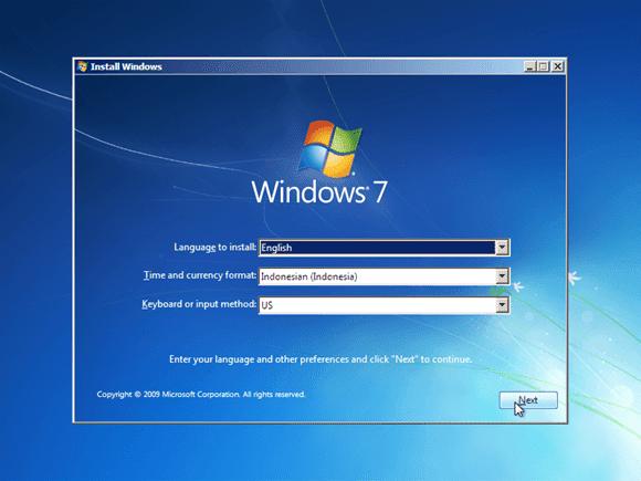Cara instal windows 7 - pilih bahasa waktu dan keyboard input
