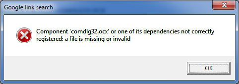 "Fix Error Code ""Componet comdlg32.ocx or one of its dependecies not correct registered: a file is missing or invalid"" of Windows XP or 7"