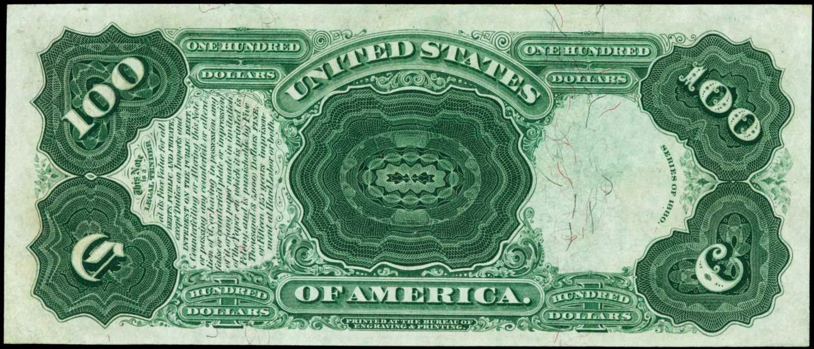 United States Notes 100 Dollars Legal Tender Note 1880