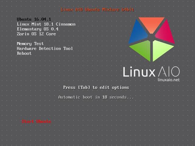 Linux AIO Ubuntu Mixture 2017.01 em execução