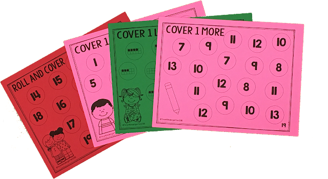 Math games for kindergarten.  Math mats using dice are a great way to teach number concepts.  one more, one less and one, ten fames, subitizing and finger counting.  Include math games in your daily math routines.  Your students will love playing these quick and easy engaging math dice games. easy no-prep print and go. just add dice. Great for early finishers use in math centers.