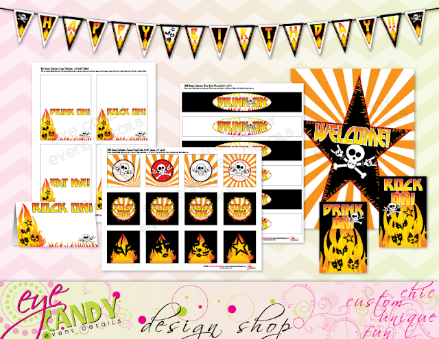 rocker party full printable collection, printables for rocker party, kiss rocker party