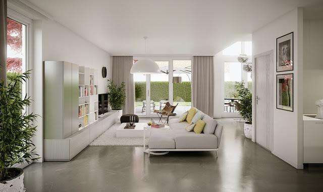 Desain Ruang Tamu Warna Cat Putih