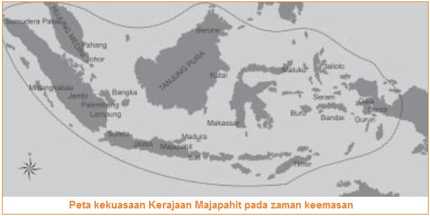 Peta kekuasaan Kerajaan Majapahit - Pendiri, Silsilah, Raja-Raja Majapahit, Peninggalan dan Sebab Runtuhnya Kerajaan Majapahit