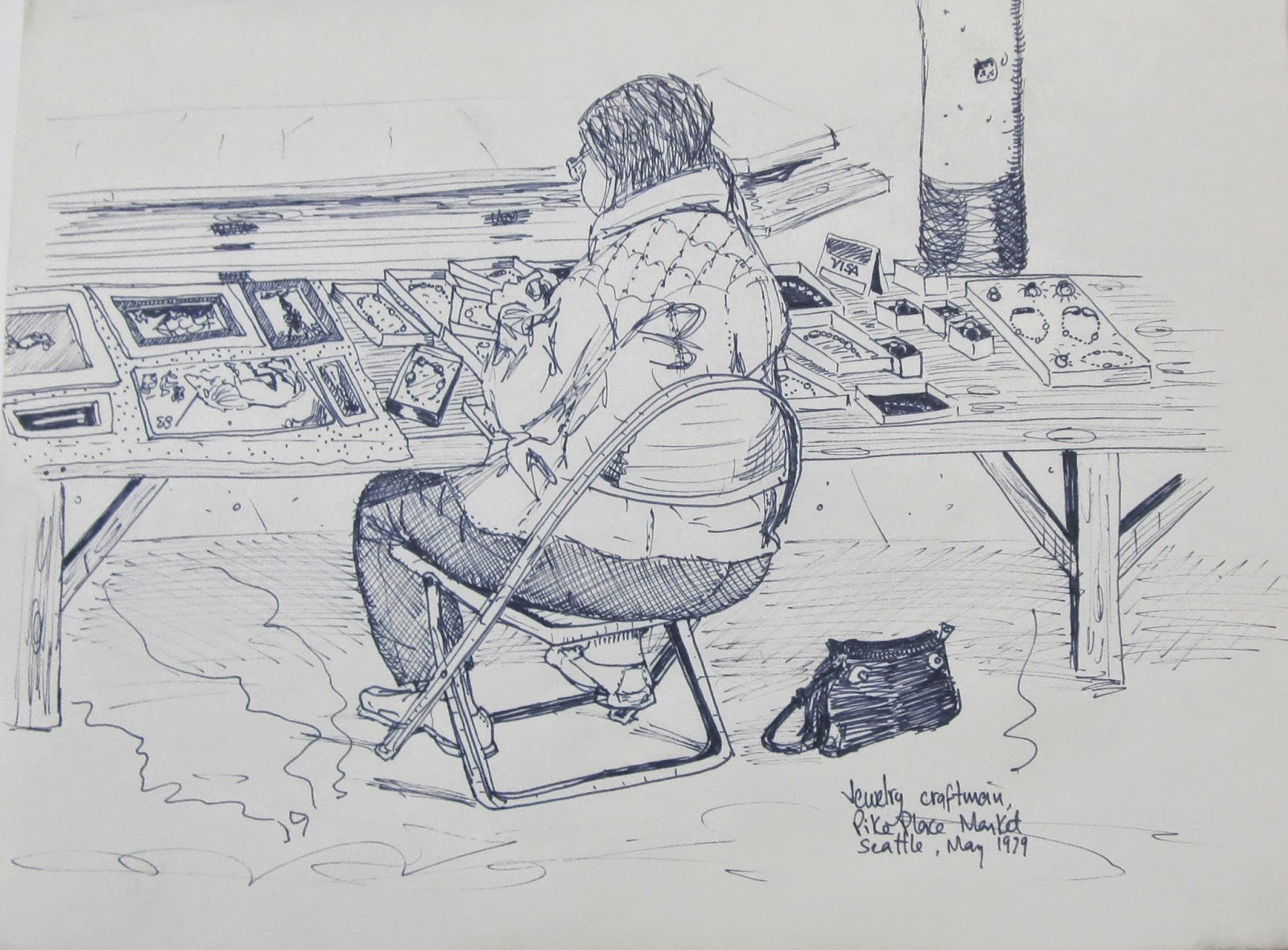 """Jewelry Craftsman, Pike Place Market, Seattle."" 8.5 x 11 inches. Pen and Ink. 1979"