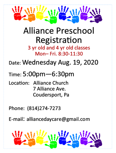 8-19 Alliance Preschool Registration