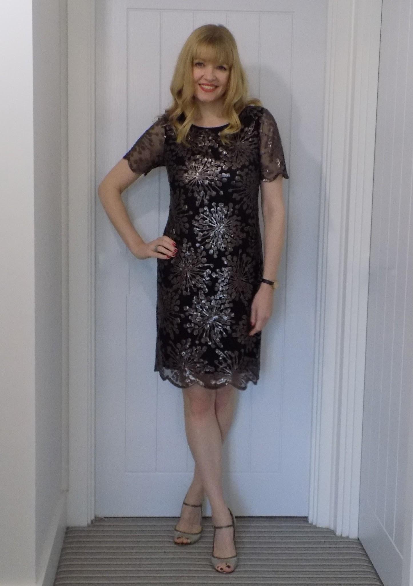Boden sequinned dress with scalloped hem