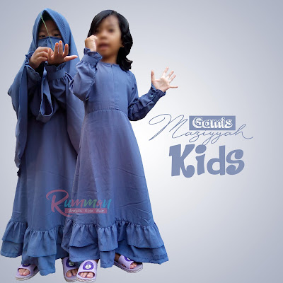 Set Gamis Anak Syari Maziyyah Kids Abu Tua