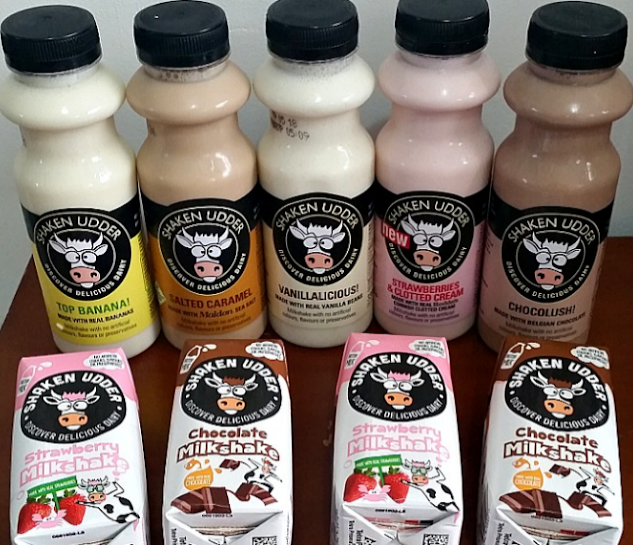 A selection of Shaken Udder milkshakes in bottles and cartons