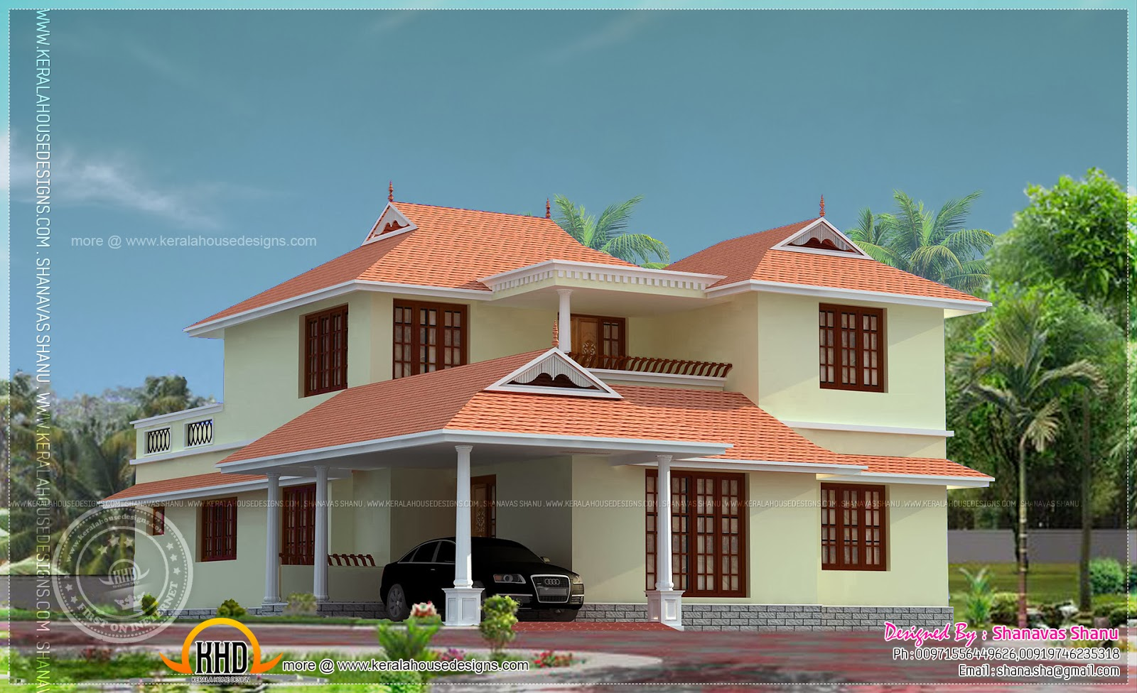 Beautiful kerala house photo with floor plan kerala home for Beautiful kerala house plans
