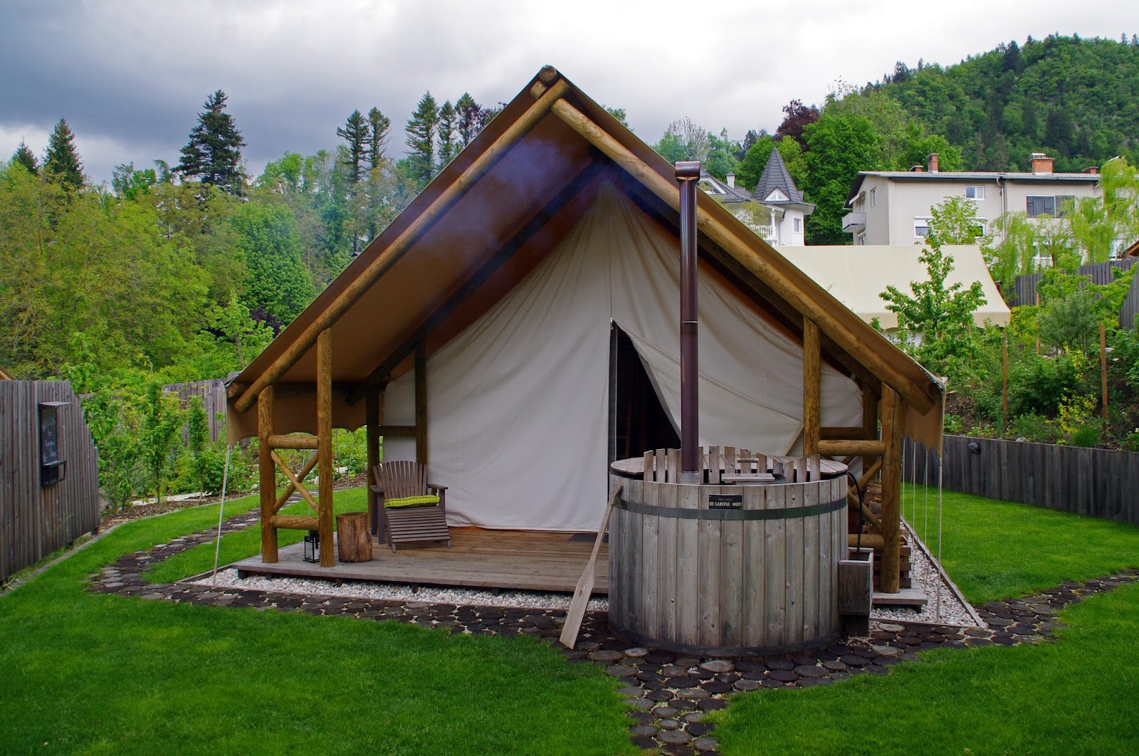 Glamping in slovenia at garden village bled the aussie for Wood tents
