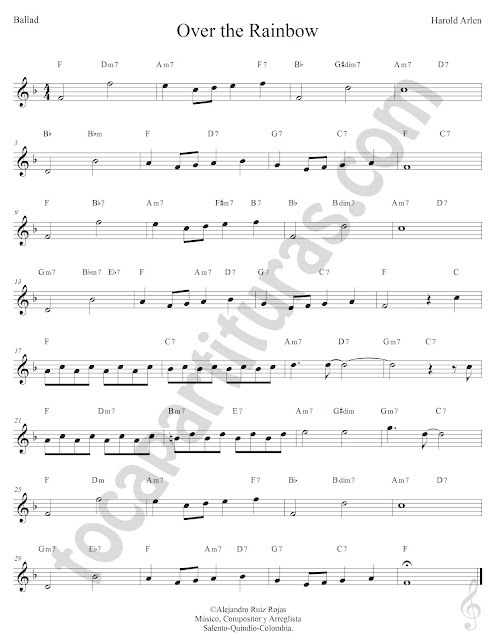 Over the Rainbow de Harold Arlen Partitura con Acordes Sheet Music Treble Clef with Chords