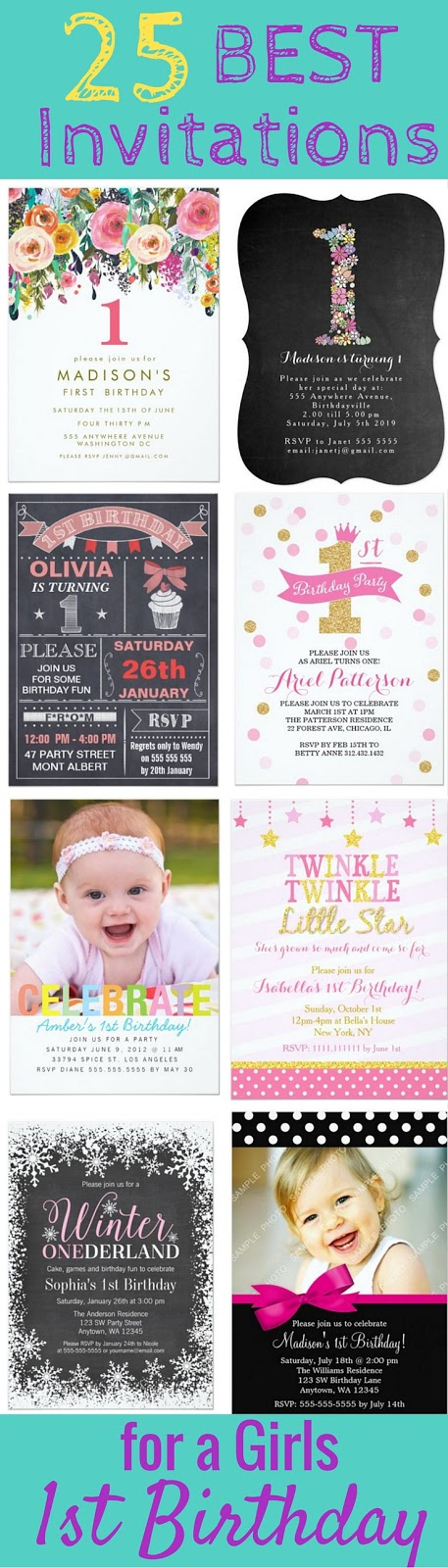 The 25 BEST 1st Birthday Party Invitations for Girls - Having too many options and ideas can be overwhelming, so I've searched through hundreds of first birthday invites for girls and compiled what I think are the very best ones to get. The pink and gold invitations are some of my favorites, and the twinkle twinkle little star invite is so adorable! All of these invitations are personalizable, but I love the ones that allow you to upload your own custom photo of your little one. ♡