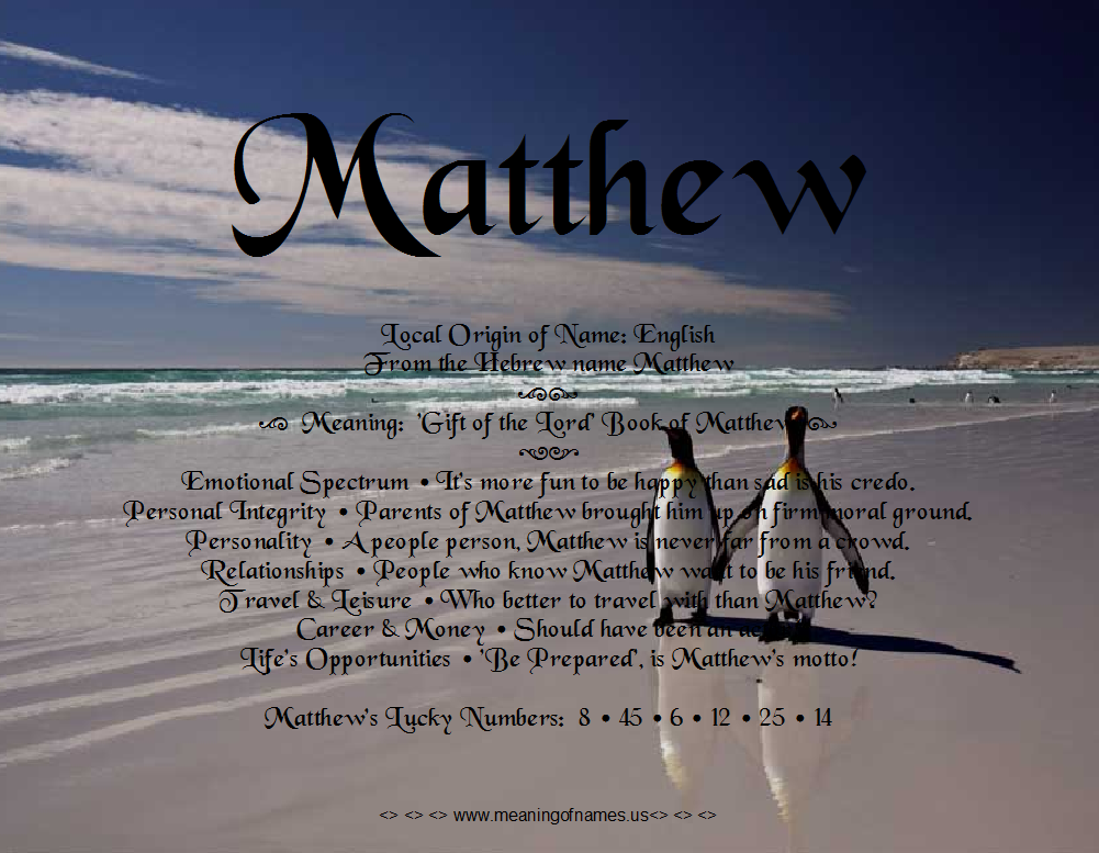 Related Keywords & Suggestions for matthew name meaning