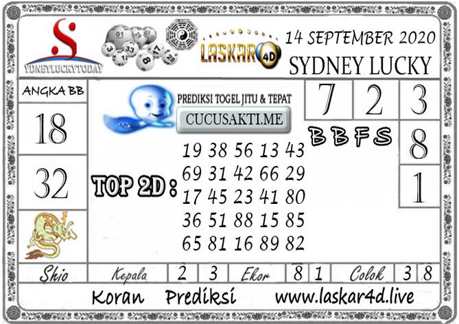 Prediksi Sydney Lucky Today LASKAR4D 14 SEPTEMBER 2020