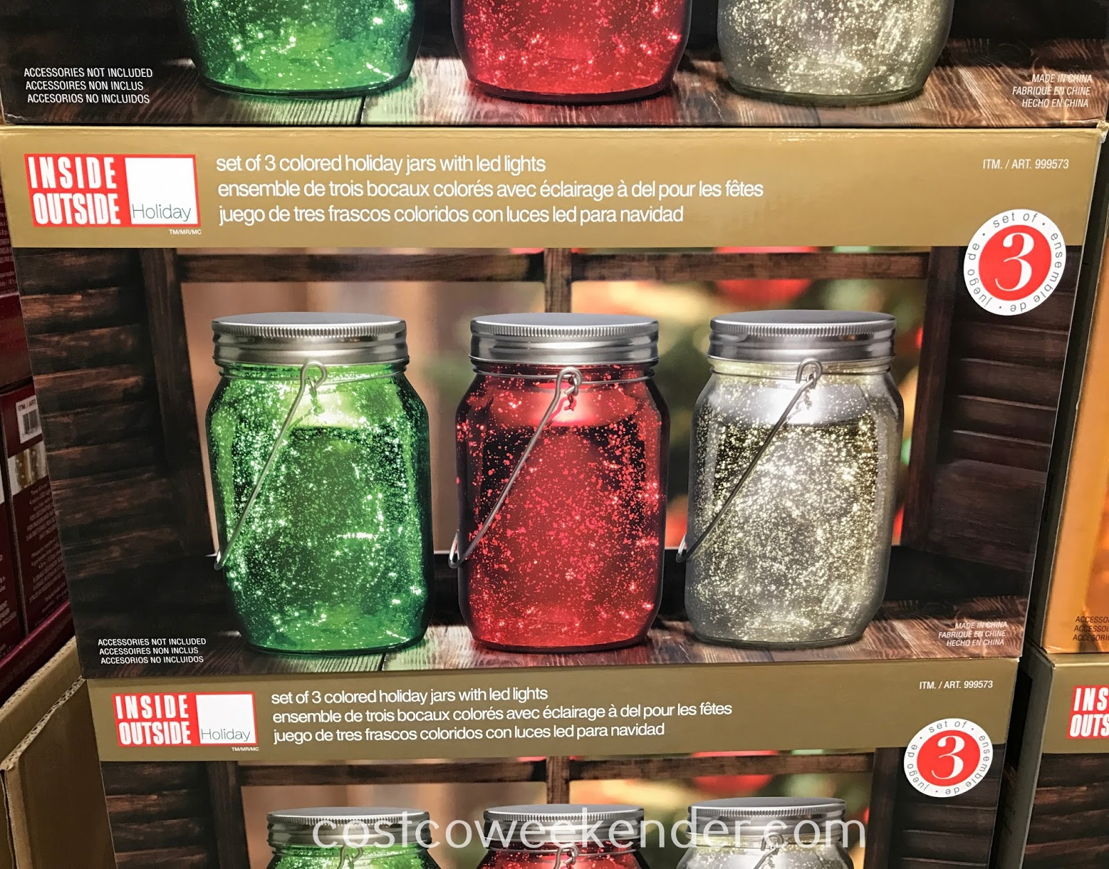 Decorate your home this Christmas with the Inside Outside Colored Holiday Jars with LED Lights