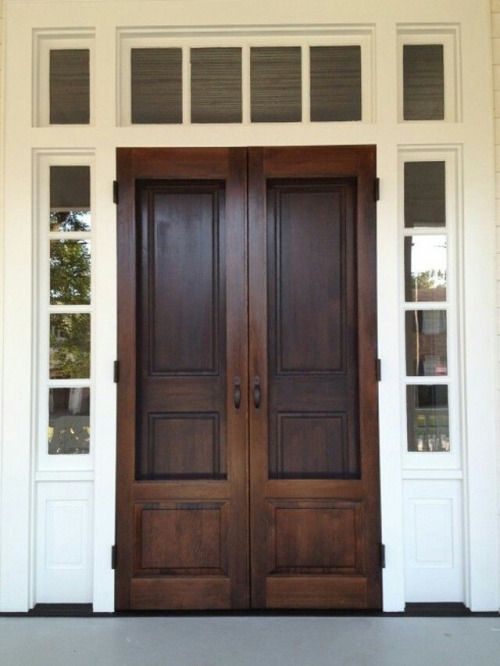 stained wood front door, front entrance