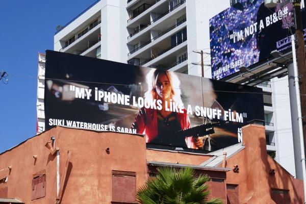 Assassination Nation iPhone looks like snuff film billboard