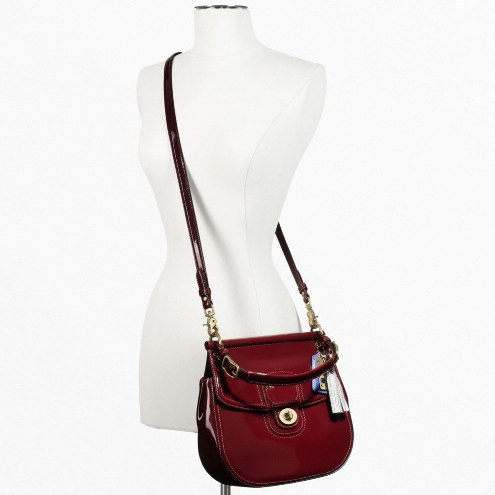 2702 Coach Patent Willis Bag 21244 Handbagcrossbody Purse Leather Crimson