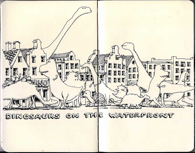 12-Dinosaurs-on-the-Waterfront-Mattias-Adolfsson-Surreal-Architectural-Moleskine-Drawings-www-designstack-co