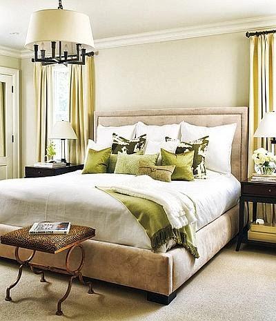 relaxing beige and green bedroom