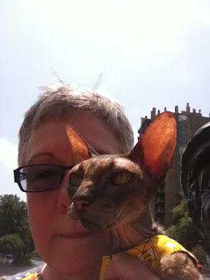 Kely, the Cornish Rex and Teri Selfie
