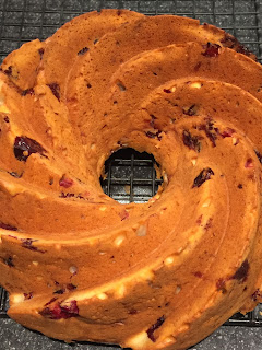 Cranberry Yoghurt Bundt Cake turned out on a cooling rack