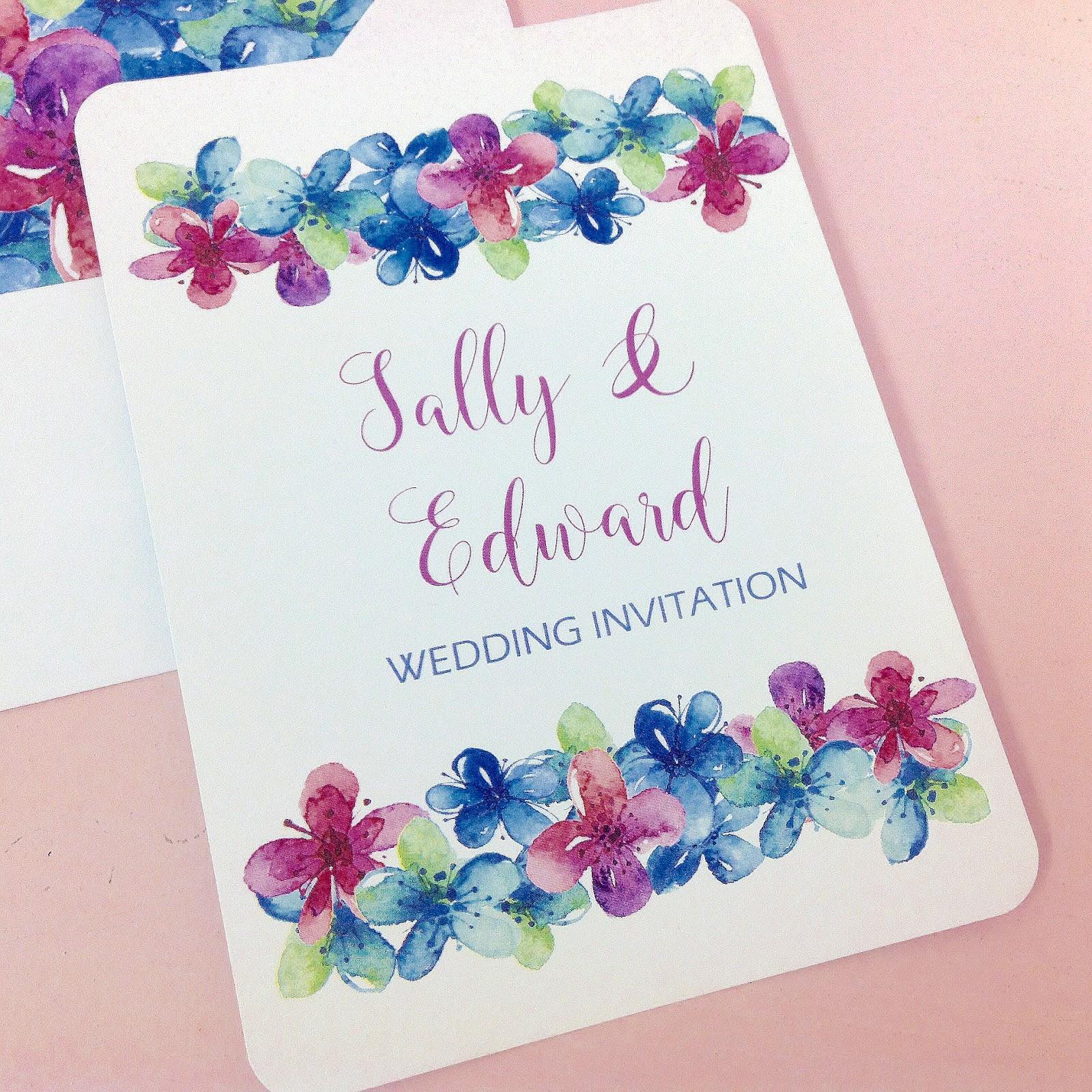 Inspired by Script: Purple & Blue Blossom Design Wedding Invitation ...
