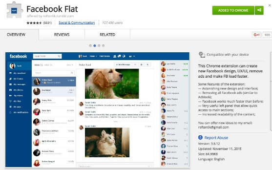 Facebook Flat Google Chrome Extension