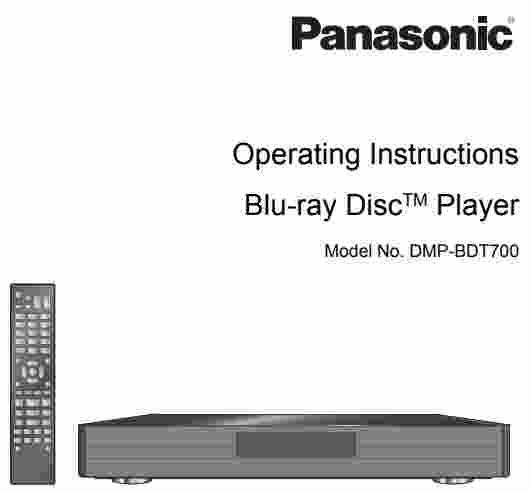 Panasonic DMP-BDT700 Manual - Panasonic Owners Manual User Guide
