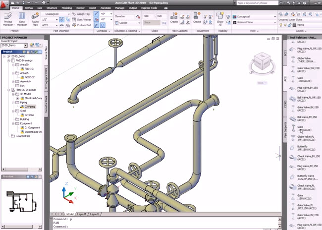 How to piping systems Pipie 3D drawing with AutoCAD Plant 3D