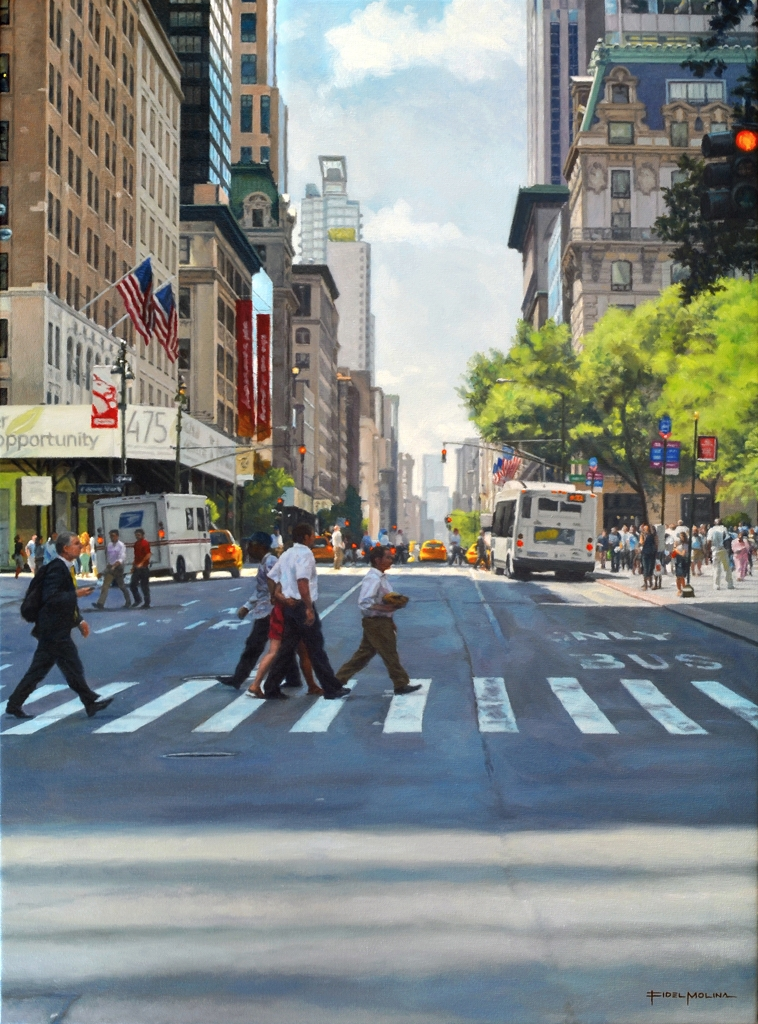 08-Quinta-Avenida-Fidel-Molina-Realistic-Paintings-of-Cities-Frozen-in-Time-www-designstack-co