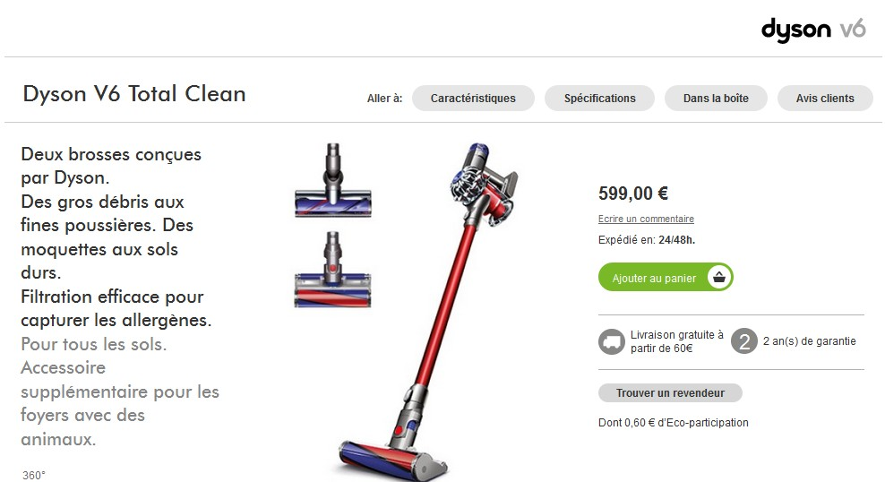ventes privees sur internet dyson v6 total clean prix. Black Bedroom Furniture Sets. Home Design Ideas