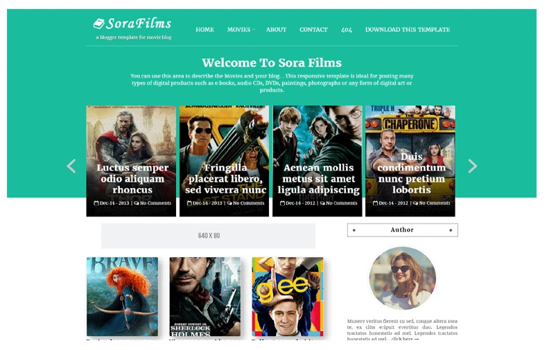Sora Films Responsive Movie Blogger Template Free Download