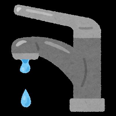 蛇口からポタポタ垂れる水のイラスト(レバー式)