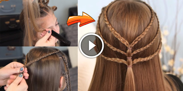 DIY - How To Create Triple-Braided Tieback Hairstyle