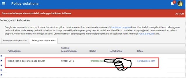 """Pelanggaran adsense tingkat situs telah berhasil diatasi dengan status""""Terselesaikan"""""""