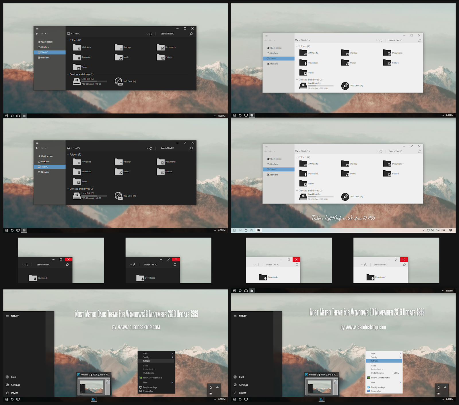 Nost Metro Dark and Light ComboPack Theme And Icon For Windows10 1909