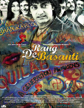Poster Of Rang De Basanti 2006 Hindi 500MB BRRip 720p ESubs HEVC Watch Online Free Download Worldfree4u