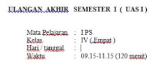 Soal UAS 1 IPS Kelas 4