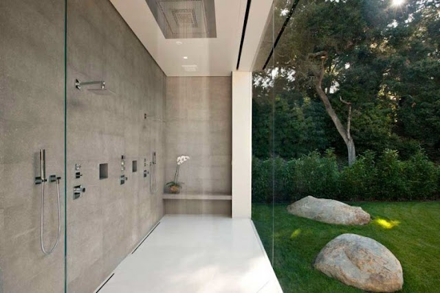 Picture of shower cabin with glass wall to the backyard