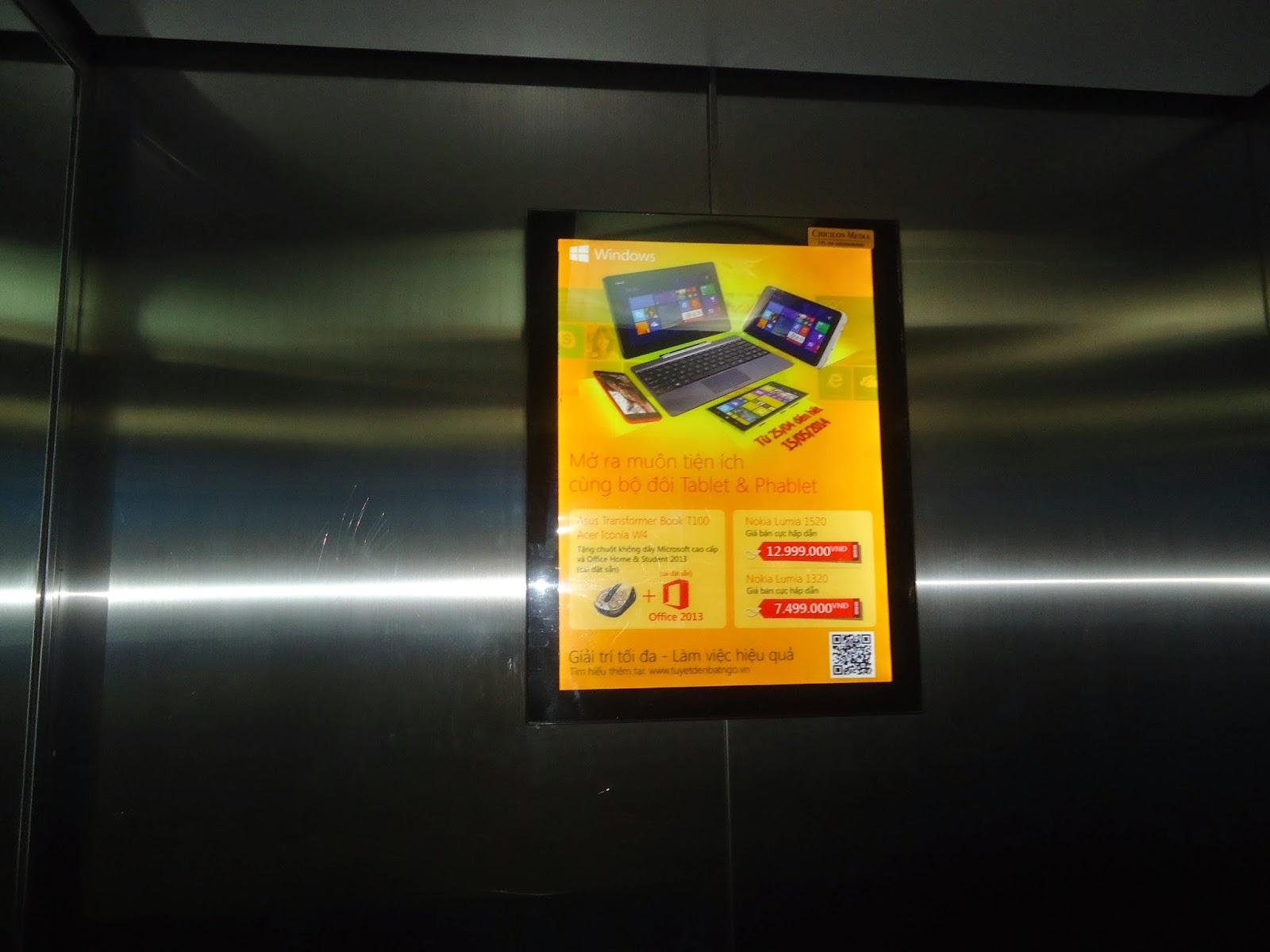 chicilon media, quảng cáo trong thang máy