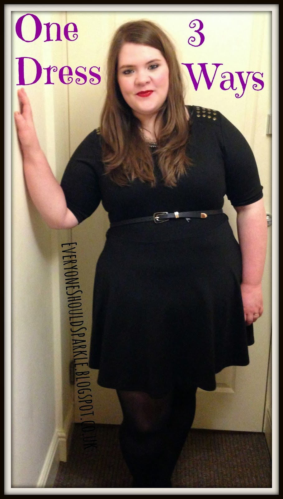 b762054d35aad One Dress 3 ways - plus size and curvy outfit ideas   black primark skater  dress