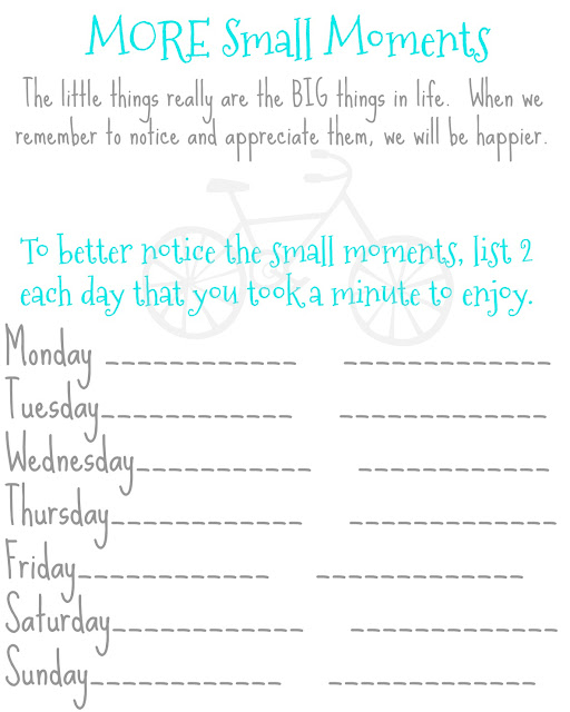 free printable on appreciating the small things