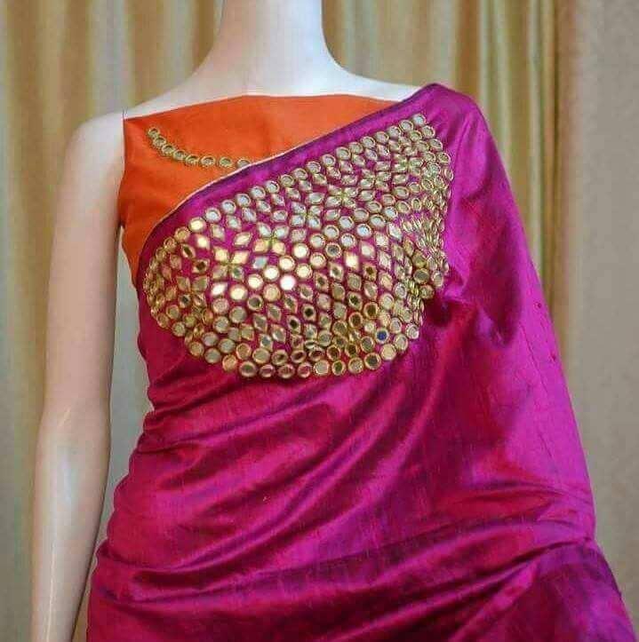 Designer fancy mirror work sarees buy online mirror work for Mirror work saree