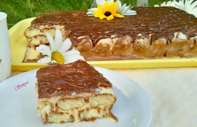 Голяма шоколадова торта с бишкоти и дулче де лече