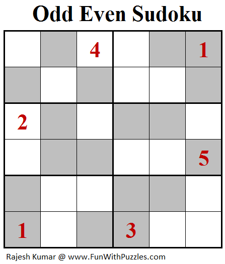 Odd Even Sudoku (Mini Sudoku Series #101)