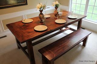 Custom Farmhouse Table, Bench